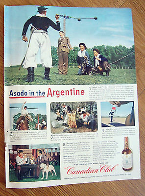 1945 Canadian Club Whiskey Ad Asado in the Argentine