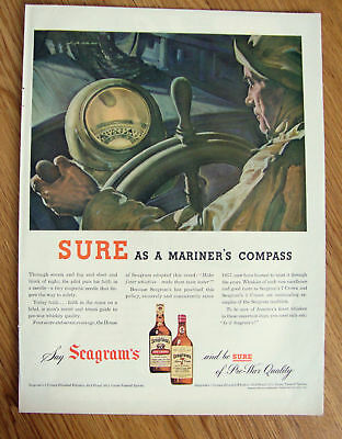 1944 Seagram's Whiskey Ad Mariner's Compass 1944 Roblee Shoes Ad