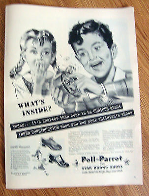 1944 Poll-Parrot Shoes Ad What's Inside Alarm Clock Theme