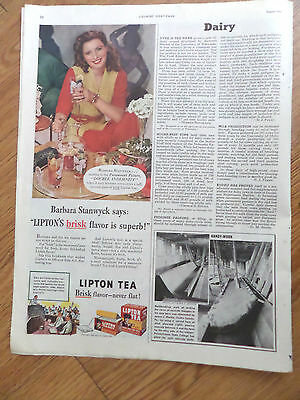 1944 Lipton Tea Ad  Hollywood Movie Star Barbara Stanwyck
