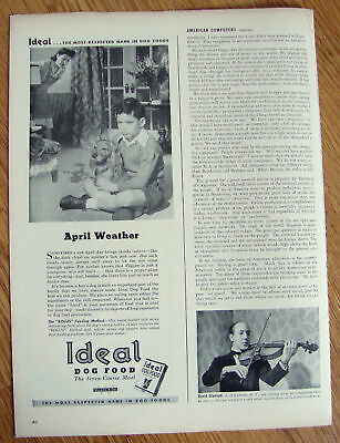 1944 Ideal Dog Food Ad Cocker Spaniel  April Weather
