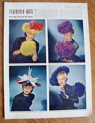 1944 Fashion Article Ad Feathered Hats