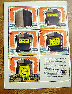 1944 Ethyl Gasoline Ad  More & More Ethyl is Going Overseas