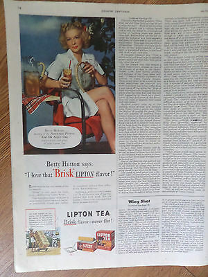1944 Lipton Tea Ad  Hollywood Movie Star Betty Hutton