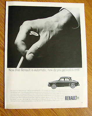 1963 Renault Dauphine Ad Now that Renault is Automatic How you get Stick Shift