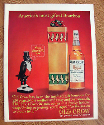 1964 Old Crow Whiskey Ad America's Most Gifted Bourbon Christmas Theme