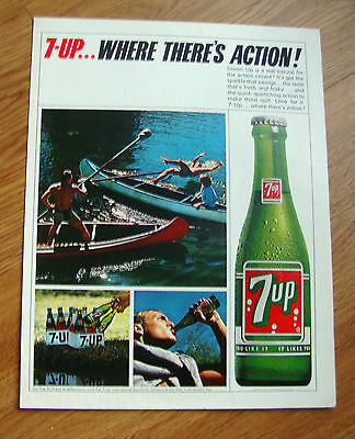 1965 Vintage 7up Soda Pop Bottle Ad Canoeing Fun