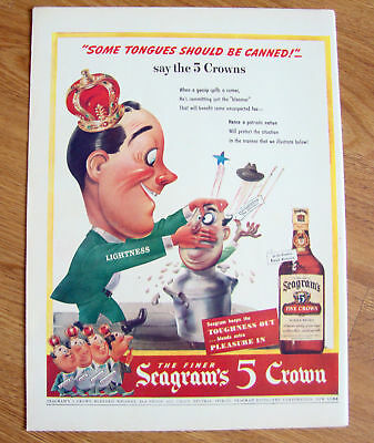 1943 Whisky Whiskey Ad Seagram's 5 Crown Canned