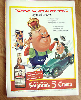 1943 Whisky Whiskey Ad Seagram's 5 Crowns The Axis