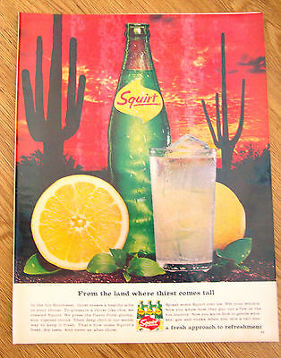 1966 Squirt Soda Ad  From the Land where Thirst Comes Tall Hot Southwest