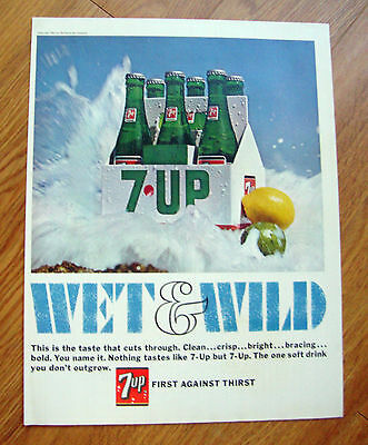 1966 Vintage 7up Bottle Ad  Wet & Wild