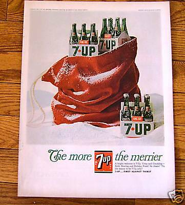 1966 Vintage 7up Bottle Soda Ad  Christmas Theme