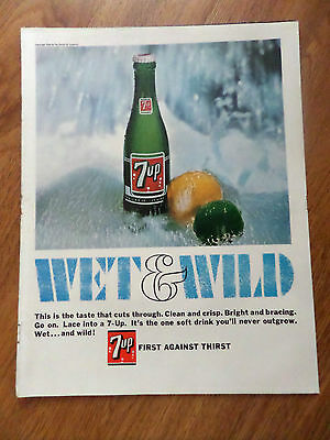 1966 Vintage 7up Soda Pop Bottle Ad  Wet & Wild