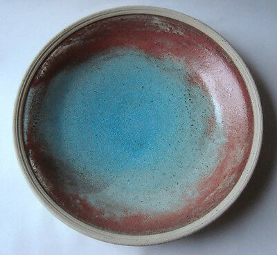 Large Studio Pottery Stoneware Dish Bowl Makers Mark AD High Fired