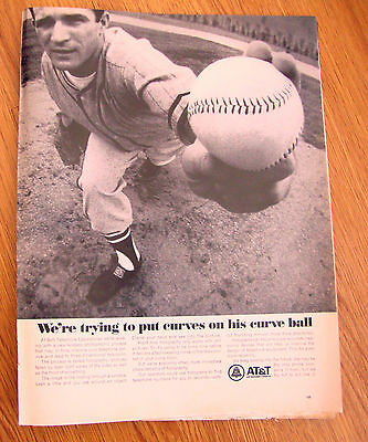 1967 AT & T Telephone Bell System Ad Baseball Theme