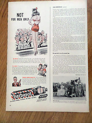 1943 Barbasol Shaving Ad Not for Men Only  Lady on Stage Performing for Soldiers