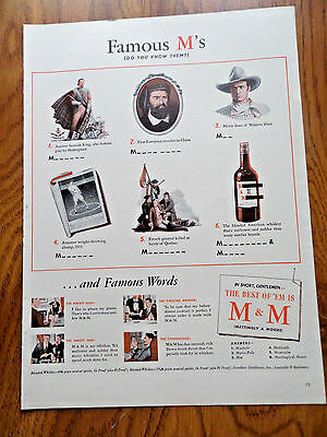 1942 M & M Whiskey Ad Famous M's