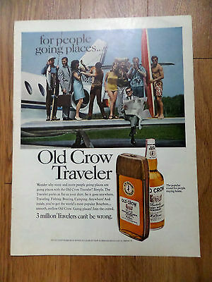 1968 Old Crow Traveler Whiskey Ad  Surfing Fishing