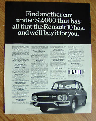 1968 Renault 10 Ad Find another car under $2000