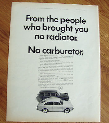 1968 VW Volkswagen Ad - No Radiator No Carburetor