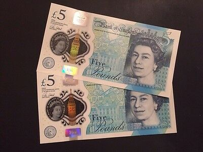 AK47 Bank of England £5 Polymer Notes (pair With Consecutive serial Numbers)