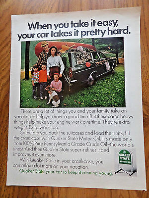 1969 Quaker State Oil Ad  Camping Theme  Station Wagon Ford Chevrolet ?