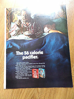 1969 Quaker Puffed Wheat  & Puffed Rice Cereal Ad  The 56 Calorie Pacifier