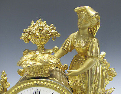 Antique 19th C French Gilt Statue Japy Freres Mantle Clock Woman Basket Fish yqz