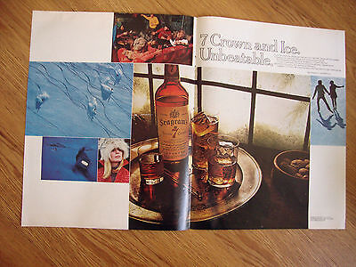 1970 Seagram's 7 Crown Whiskey Ad  7 Crown & Ice Unbeatable