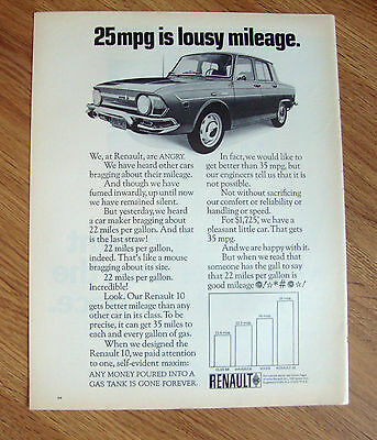 1970 Renault 10 Ad 25 mpg is lousy Mileage