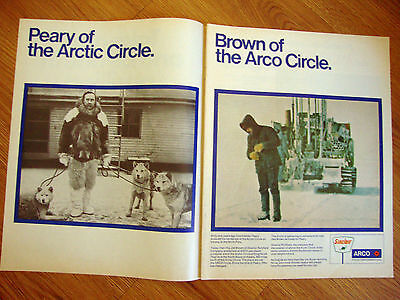 1970 Sinclair Motor Oil Ad  Peary Brown of the Arctic Circle