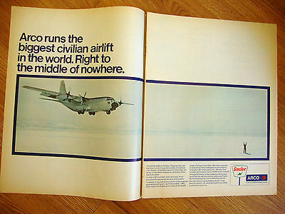 1970 Sinclair Motor Oil Ad Civilian Airlift The North Slope of Alaska