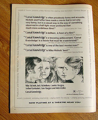 1971 Movie Ad Carnal Knowledge Mike Nichols Jack Nicholson Candice Bergen