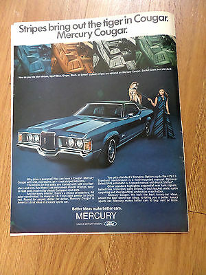 1971 Mercury Cougar Ad Stripes Bring out the Tiger in Cougar