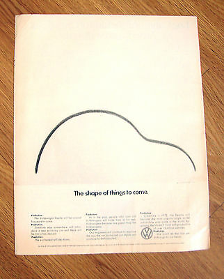 1972  VW Volkswagen Ad  The Shape of Things to Come