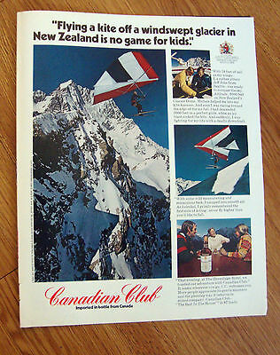 1972 Canadian Club Whiskey Ad Kite Flying off Glacier in New Zealand