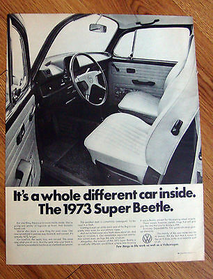 1973 VW Volkswagen Ad The Super Beetle A Whole Different Car Inside