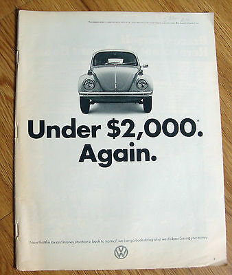 1972 VW Volkswagen Bug Ad  Under $2,000 Again