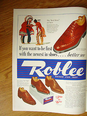 1940 Roblee Shoes Ad Indians    The Red Skins are Here
