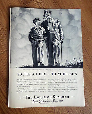 1938 Seagram's Whiskey Ad  You're A Hero to Your Son Boys Worship their Dad