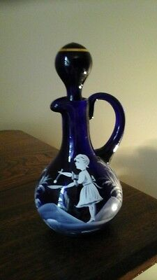 Westmoreland Mary Gregory Cobalt Blue Cruet With Stopper