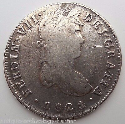 Mexico 1821 AD 8 Reales Large Silver Coin