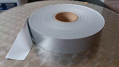 Silver  Reflective Tape Sew On Polyester Backing 50Mm X 5 M