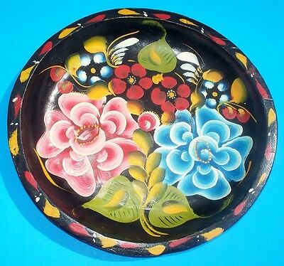 """Mexican Batea 11"""" Large Fold Art Handpainted Wood Bowl Tray Vintage Mexico"""