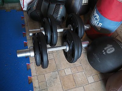 Set of heavy duty adjustable Olympic fit dumbells - collars, bars and plates