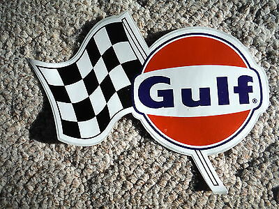 GULF OIL - Auto Racing Decal- Nascar Checkered Flag- Extra Large Size  NOS
