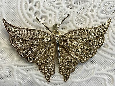 Goldtone Filigree Butterfly Pendant Brooch Pin