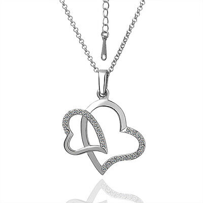 Fashion Women Heart and Heart Crystal Charm Pendant Chain Necklace Silver NEW