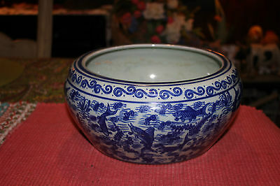 Chinese Blue & White Pottery Planter Fish Bowl-Signed Bottom-Fish Patterns