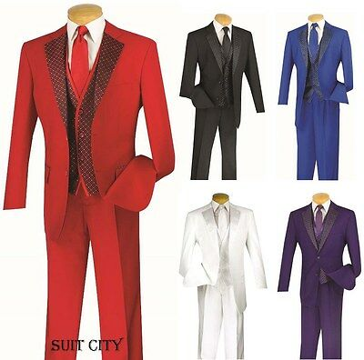 Men's Classic Fit Suit Single Breasted 2 Buttons 3 Piece With Fancy Vest 23PD-2